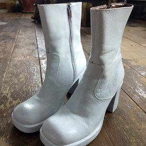 White Leather GoGo Boots